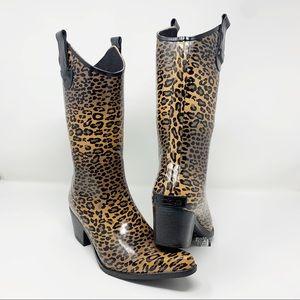 Corkys Cheetah Rodeo Western Rain Boots 7